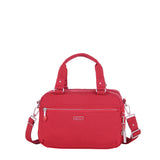 Paula Debossed Convertible Satchel Handbag Fiery Red Front [Fiery Red]
