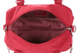Paula Debossed Convertible Satchel Handbag Fiery Red Inside