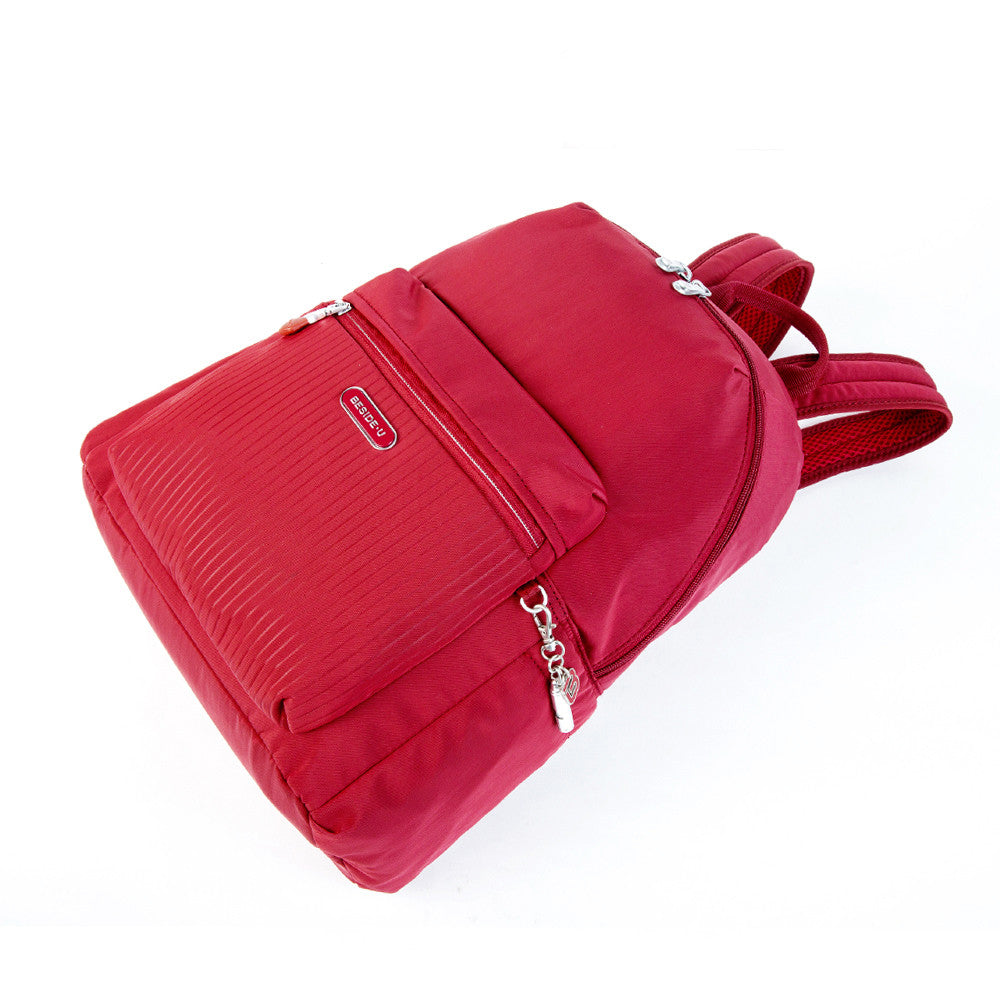 Cameron Debossed City Backpack Fiery Red Lying Down [Fiery Red]