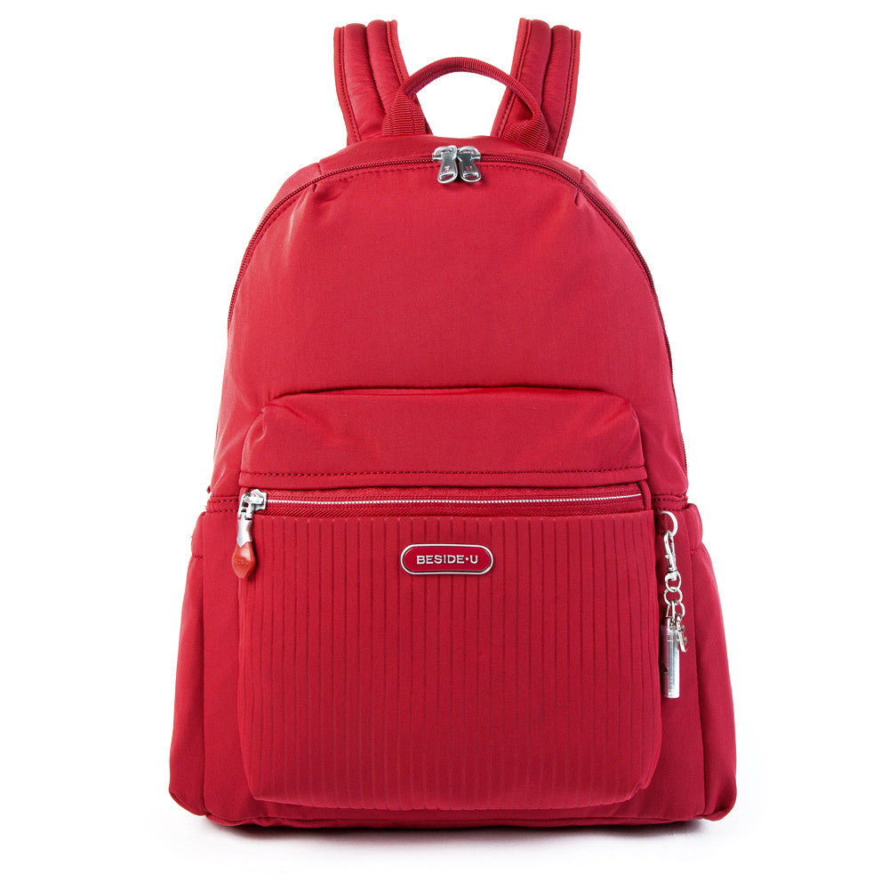 Cameron Debossed City Backpack Fiery Red Front [Fiery Red]