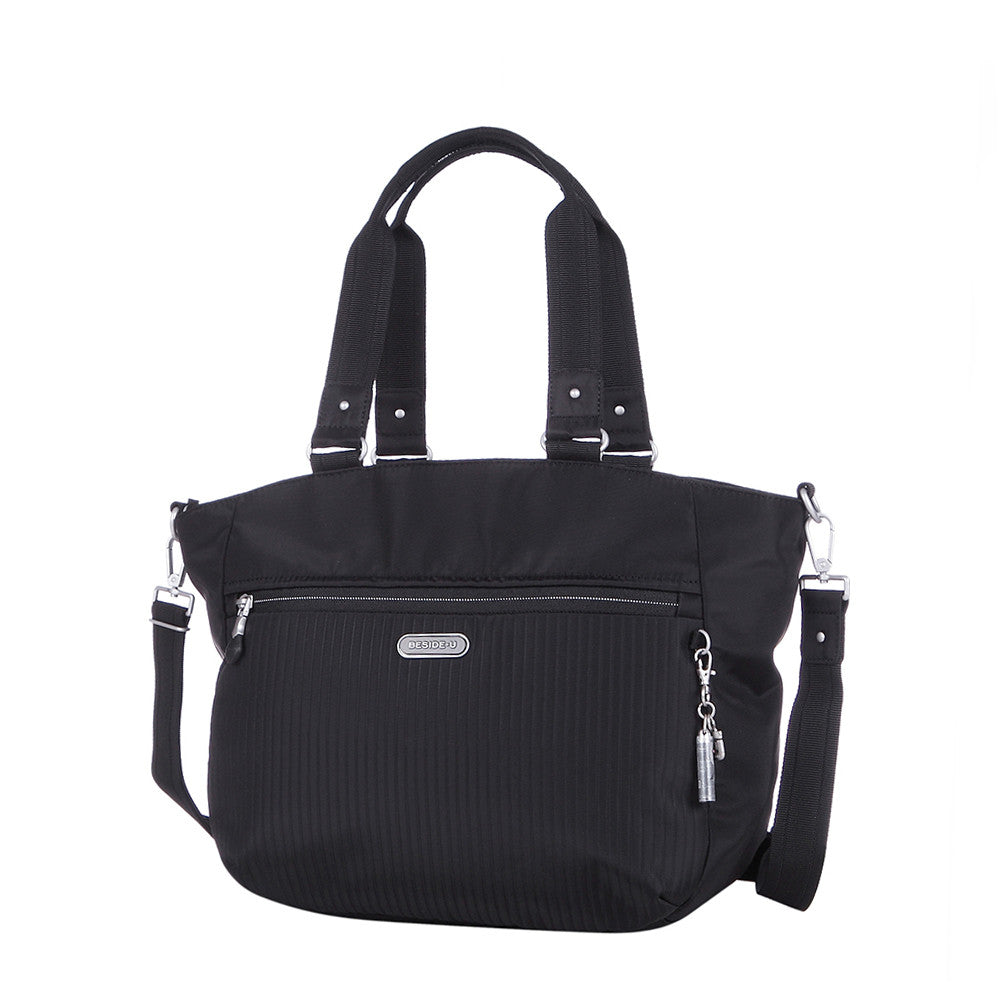 Tote Bag - Kamala Debossed Convertible Tote Bag Black Angled [Black]