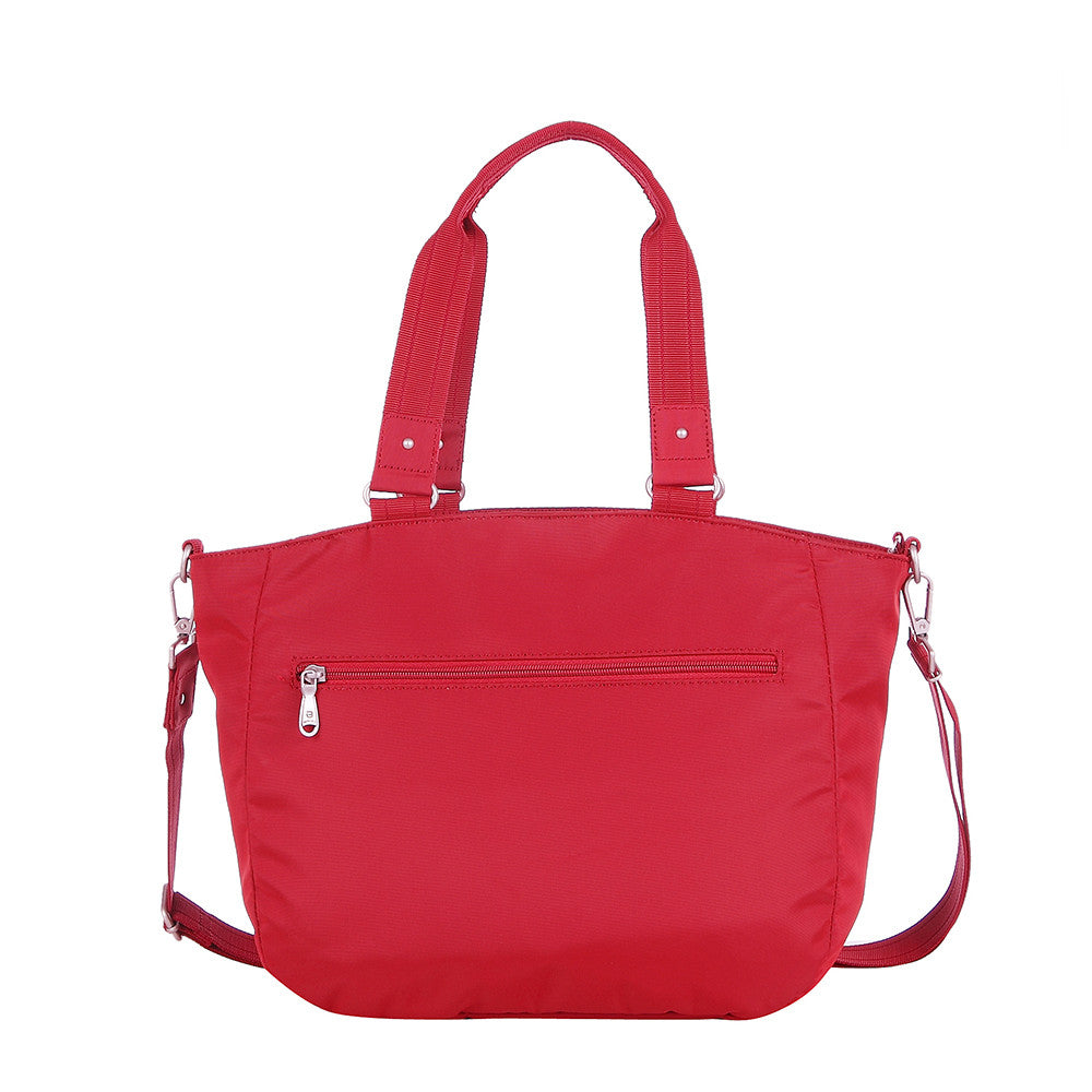 Tote Bag - Kamala Debossed Convertible Tote Bag Fiery Red Back [Fiery Red]
