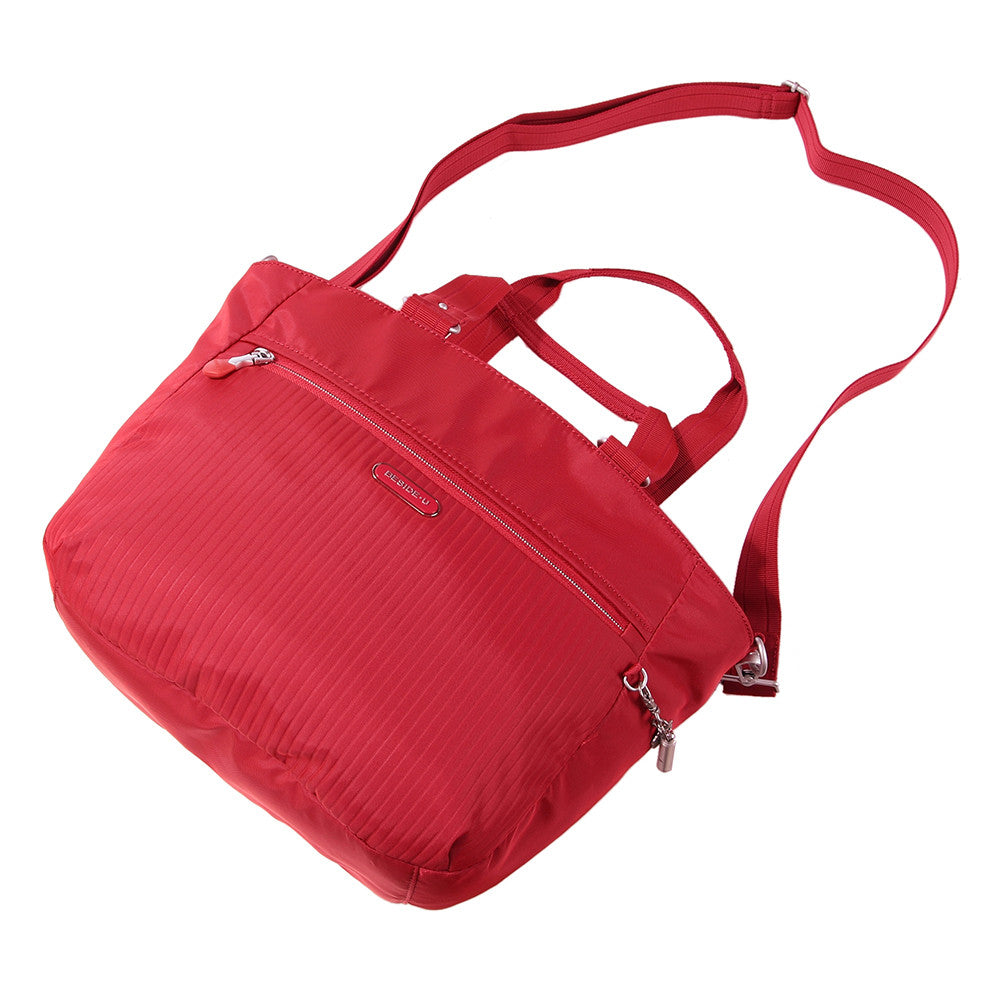 Tote Bag - Kamala Debossed Convertible Tote Bag Fiery Red Lying Down [Fiery Red]