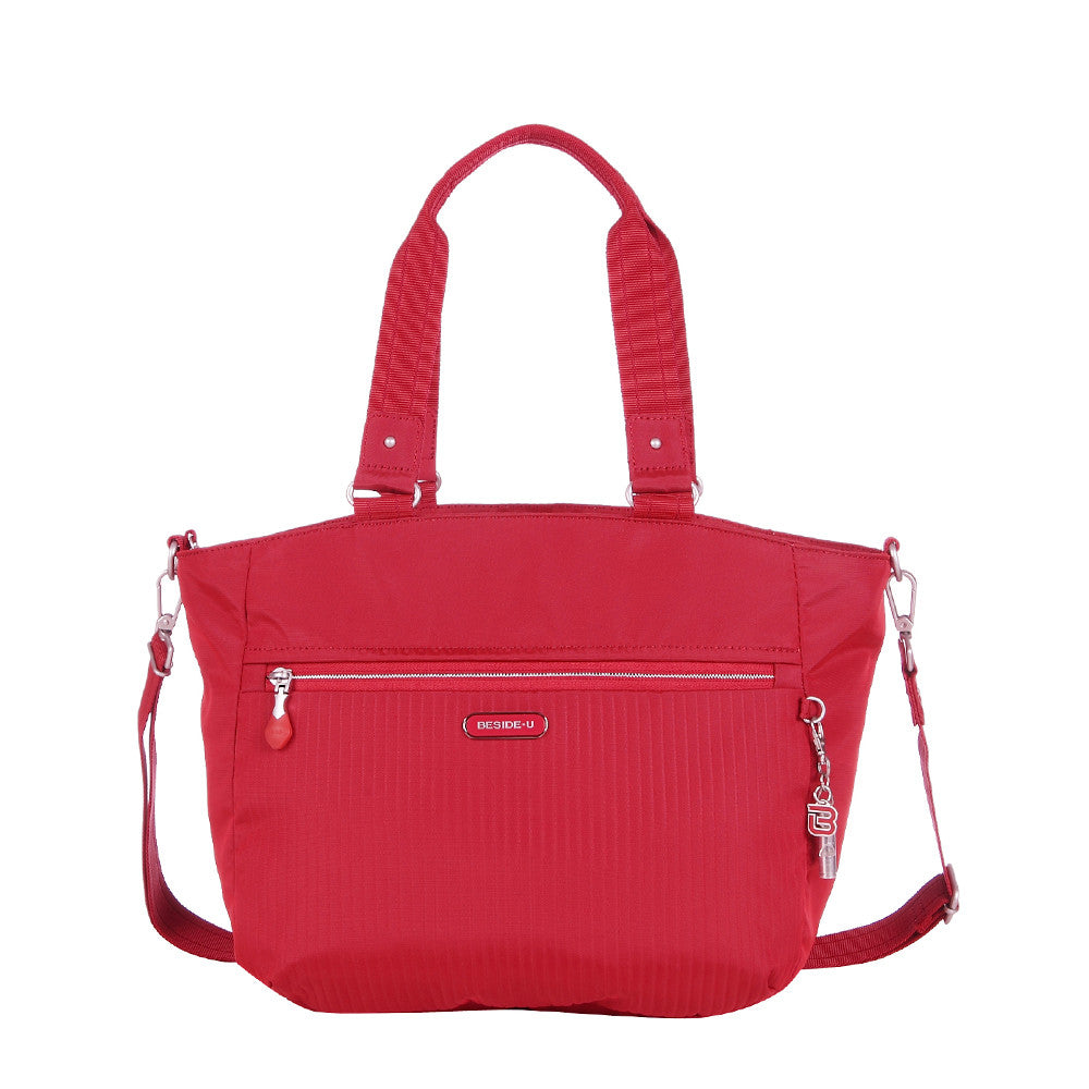 Tote Bag - Kamala Debossed Convertible Tote Bag Fiery Red Front [Fiery Red]