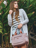 Satchel Handbag - Bethany Leather Trimmed Wide Satchel Handbag Model Rose Dawn