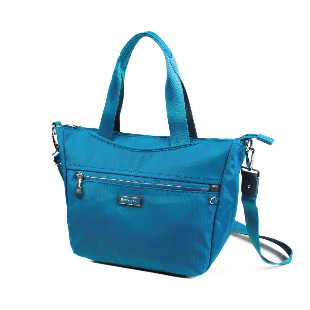 Satchel Handbag - Ellie Two Ways Handbag Angled [Joyful Blue]