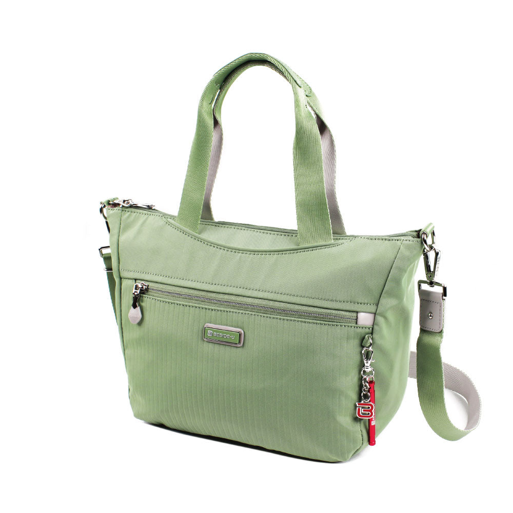Satchel Handbag - Ellie Two Ways Handbag Angled [Luminary Green]