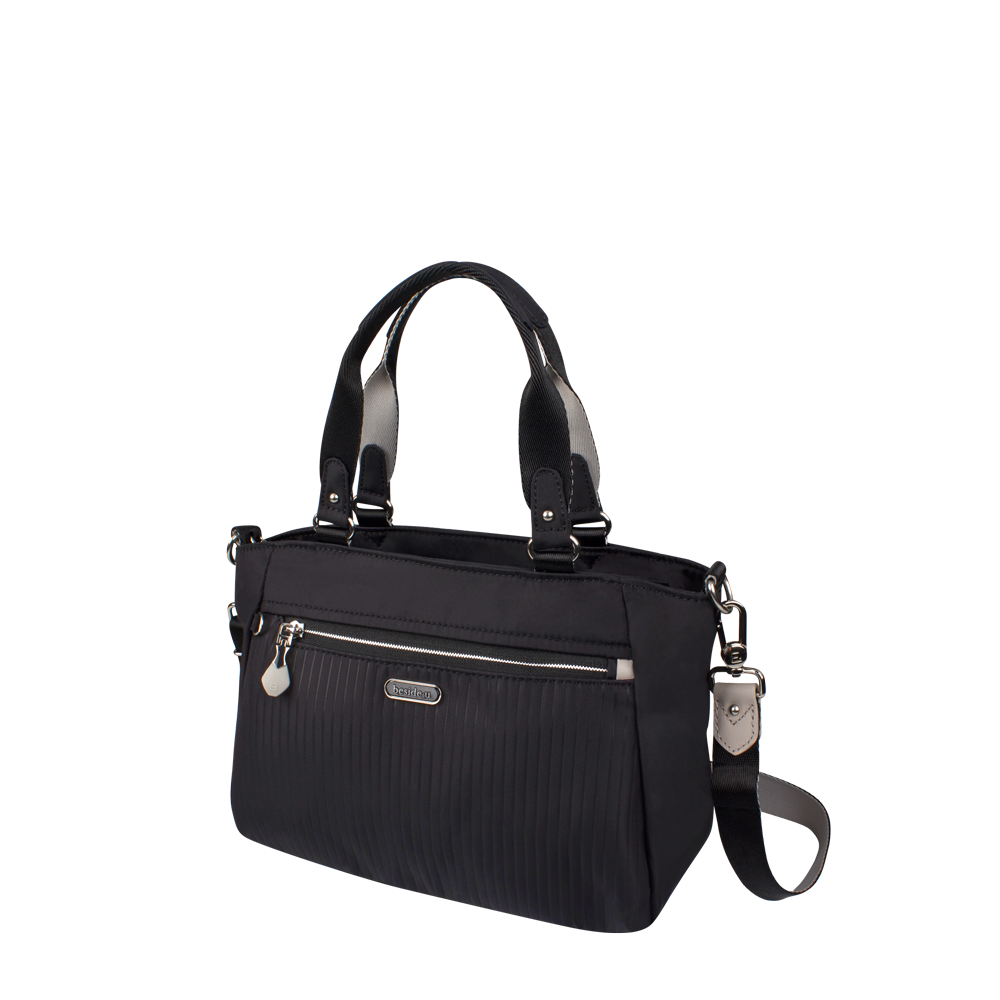 Satchel Handbag - Riley Satchel Bag Angled [Black]