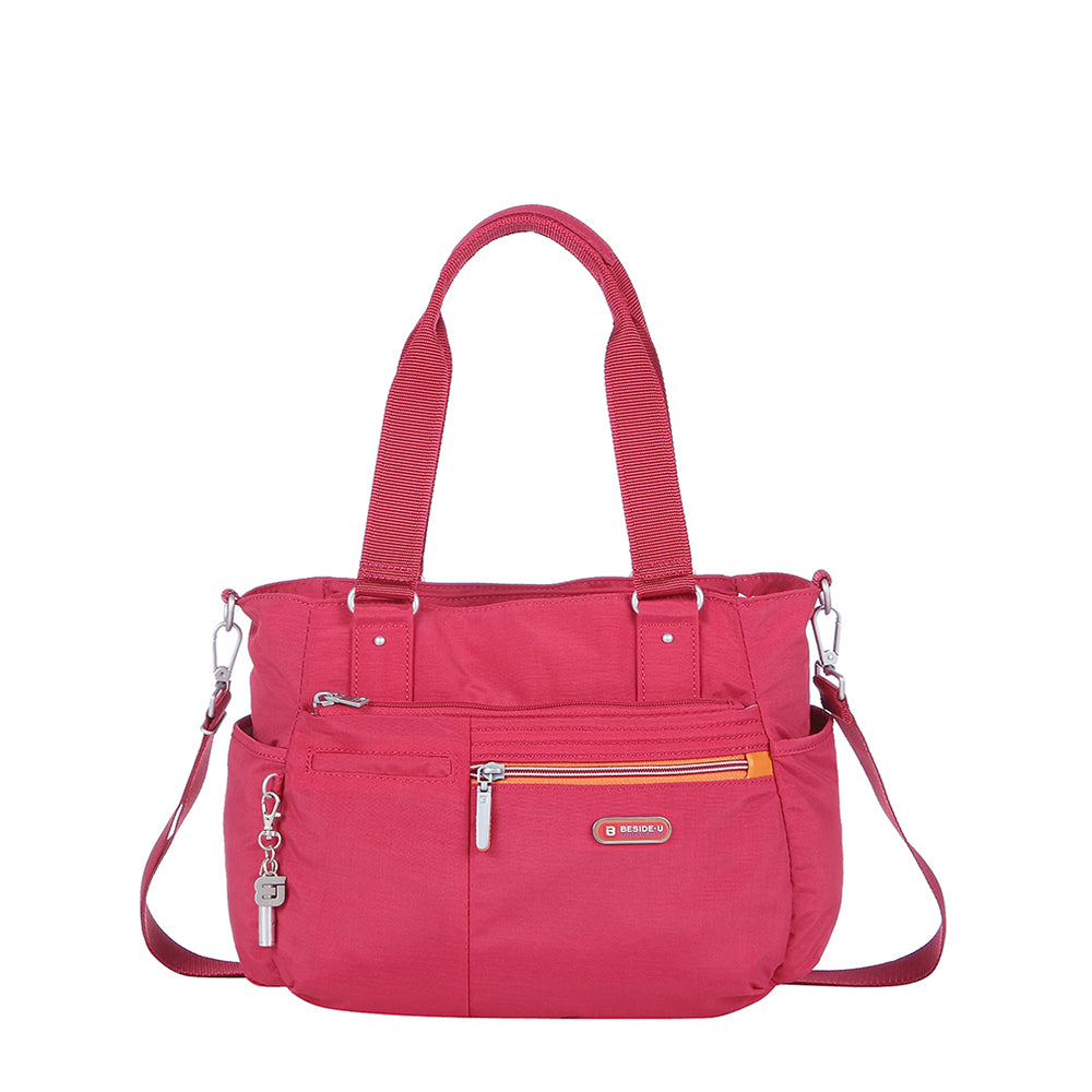 Satchel Handbag - Barbados Two-Tone Triple Compartment Satchel Handbag Front [Heart Red]