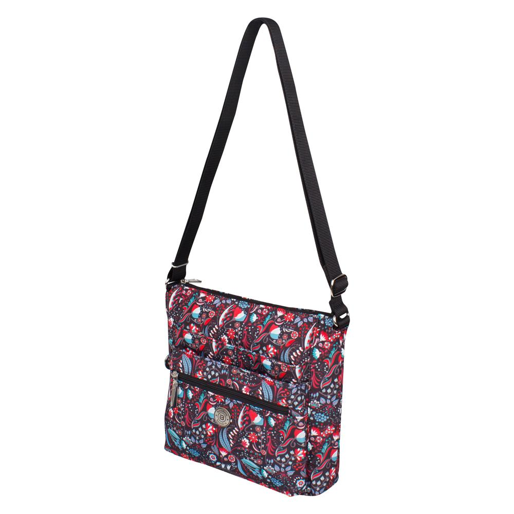 Crossbody Bag - Tasmin Printed Crossbody Bag Angled [Black Stylish Abstract]