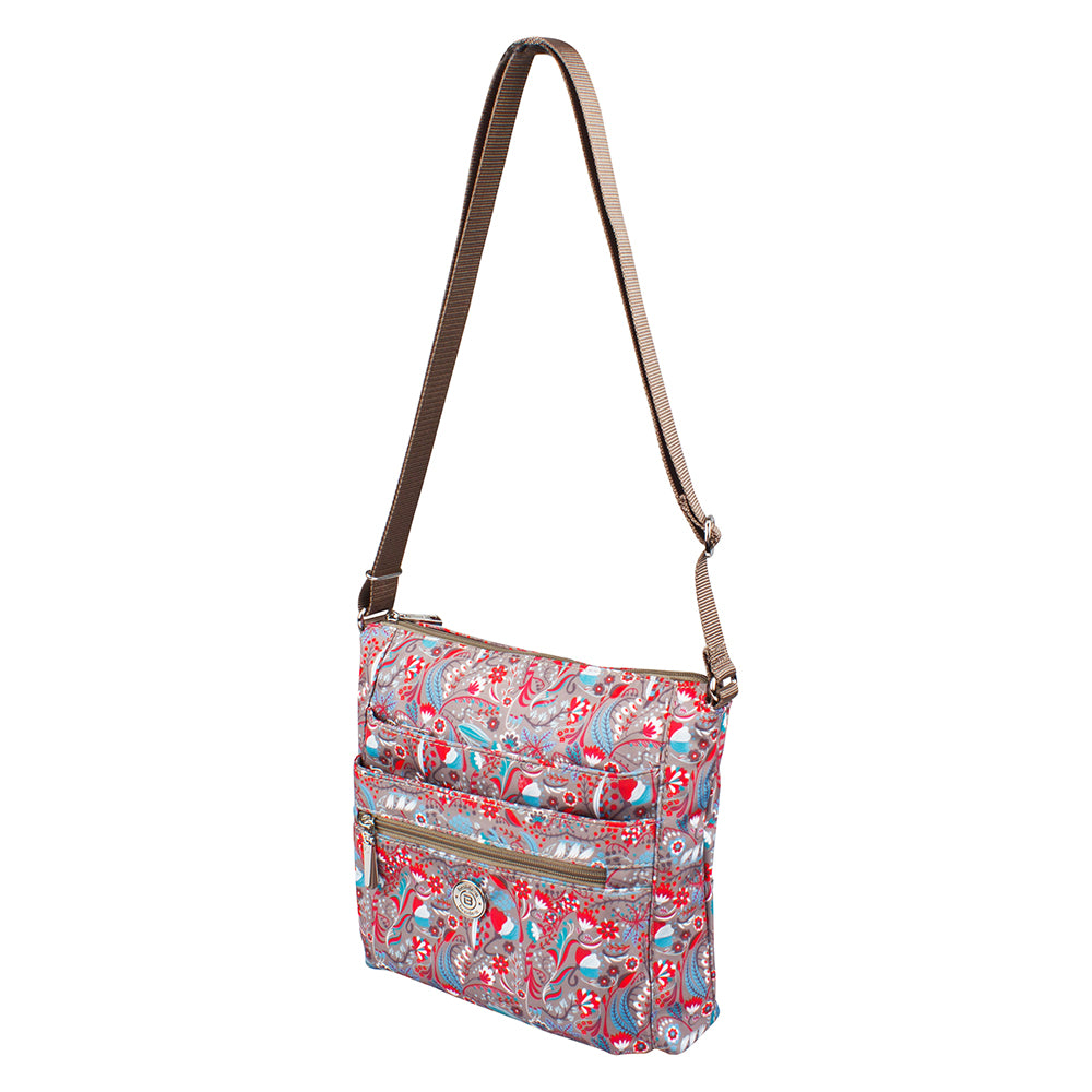 Crossbody Bag - Tasmin Printed Crossbody Bag Angled [Beige Stylish Abstract]