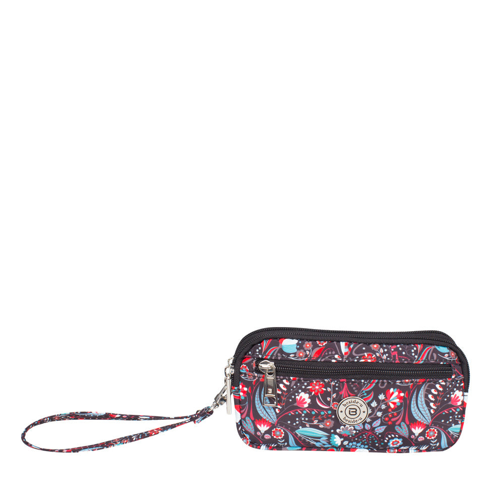 Wristlet - Libby Printed Wristlet Front Black Stylish Abstract