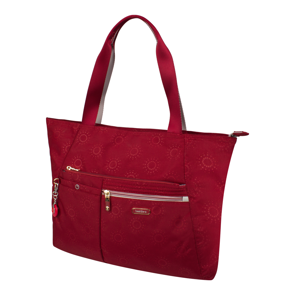 Tote Bag - Clover Two Ways Tote Angled [Ruby Red]