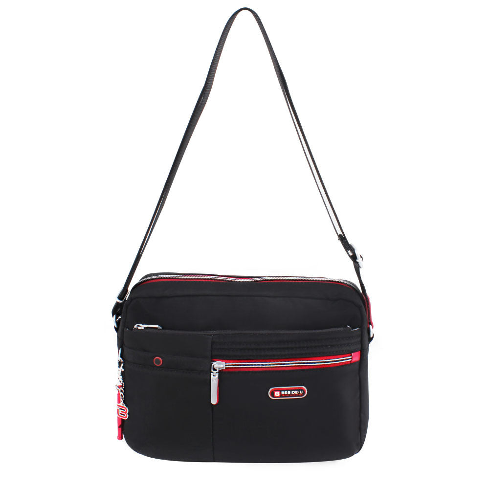 Crossbody Bag - Provence Crossbody Bag Front [Black And Dark Red]