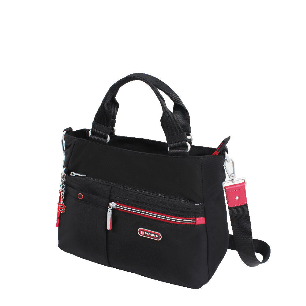 Satchel Handbag - Kenora Two Ways Handbag Angled [Black And Dark Red]