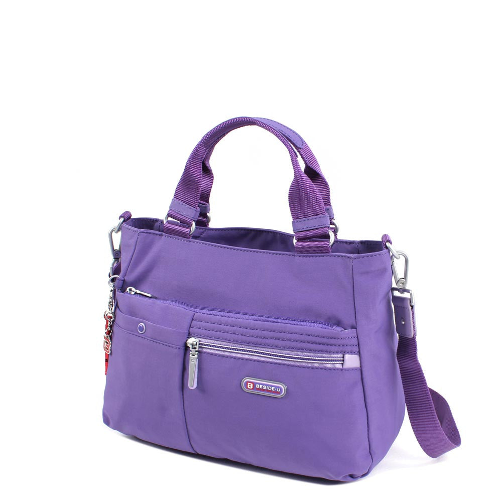 Satchel Handbag - Kenora Two Ways Handbag Angled [Purple Opulence]