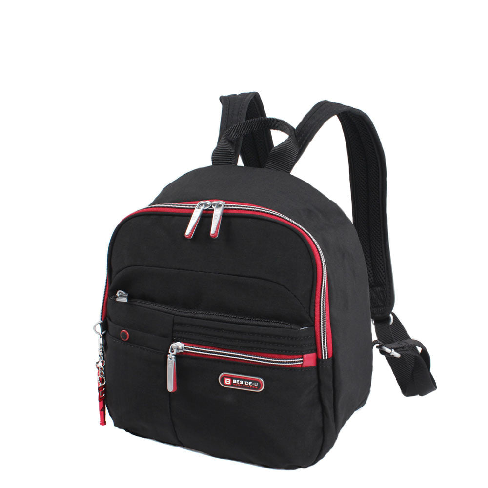 Backpack - Denis Two-Tone Leisure Travel Backpack Angled [Black And Dark Red]