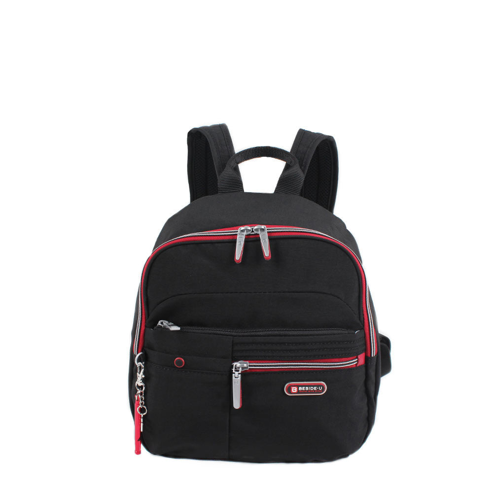 Backpack - Denis Two-Tone Leisure Travel Backpack Front [Black And Dark Red]