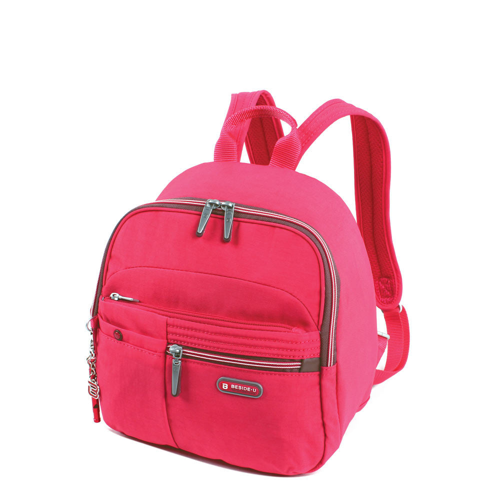 Backpack - Denis Two-Tone Leisure Travel Backpack Angled [Rory Red]