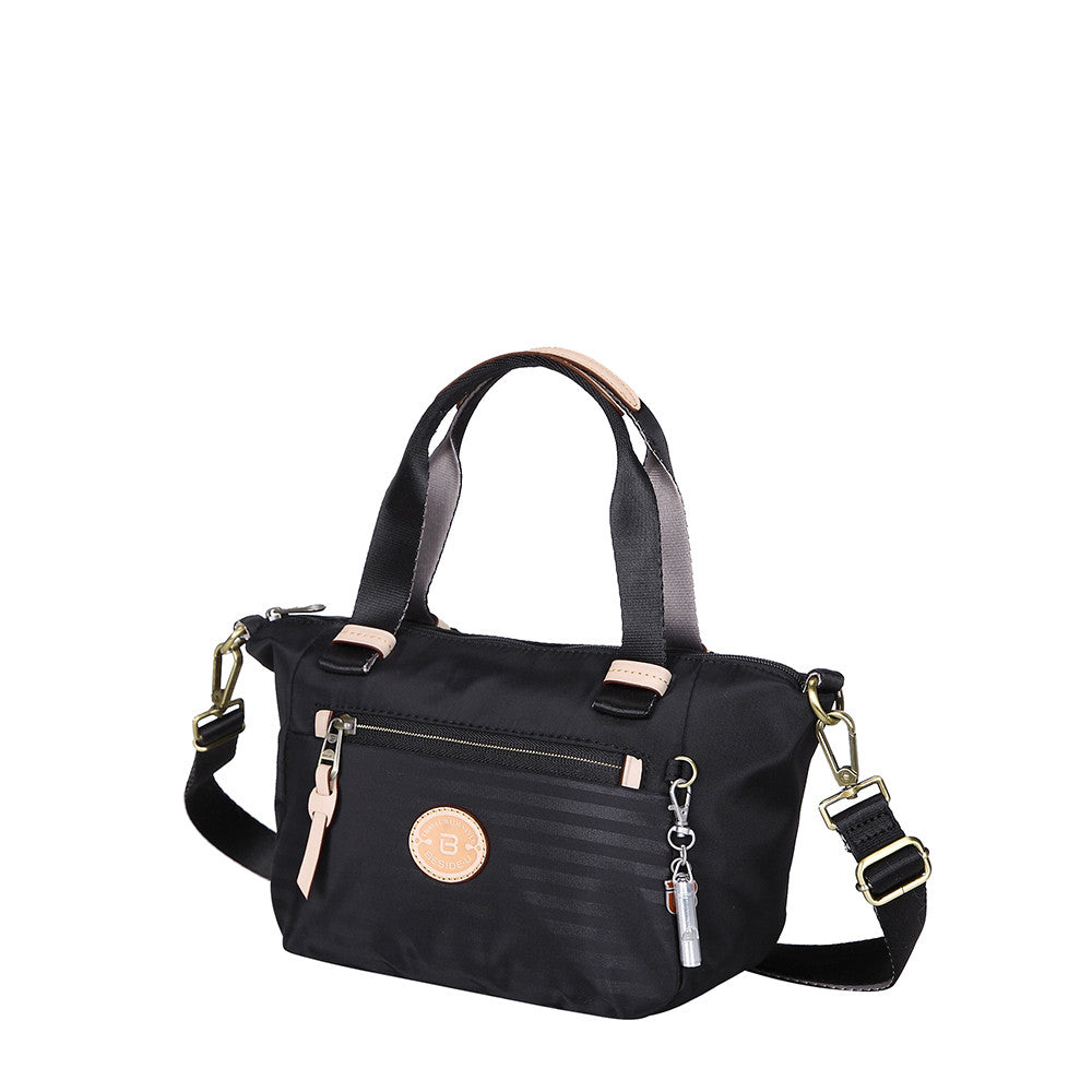 Cyprus Leather Trimmed Mini Convertible Satchel Handbag Black Angled [Black]