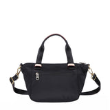 Cyprus Leather Trimmed Mini Convertible Satchel Handbag Black Back [Black]