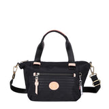 Cyprus Leather Trimmed Mini Convertible Satchel Handbag Black Front [Black]