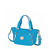 Cyprus Leather Trimmed Mini Convertible Satchel Handbag Cowboy Blue Angled [Cowboy Blue]