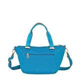 Cyprus Leather Trimmed Mini Convertible Satchel Handbag Cowboy Blue Back [Cowboy Blue]