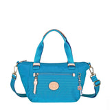 Cyprus Leather Trimmed Mini Convertible Satchel Handbag Cowboy Blue Front [Cowboy Blue]