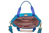 Cyprus Leather Trimmed Mini Convertible Satchel Handbag Cowboy Blue Inside