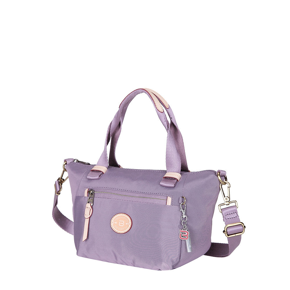 Cyprus Leather Trimmed Mini Convertible Satchel Handbag Grapeade Purple Angled [Grapeade Purple]