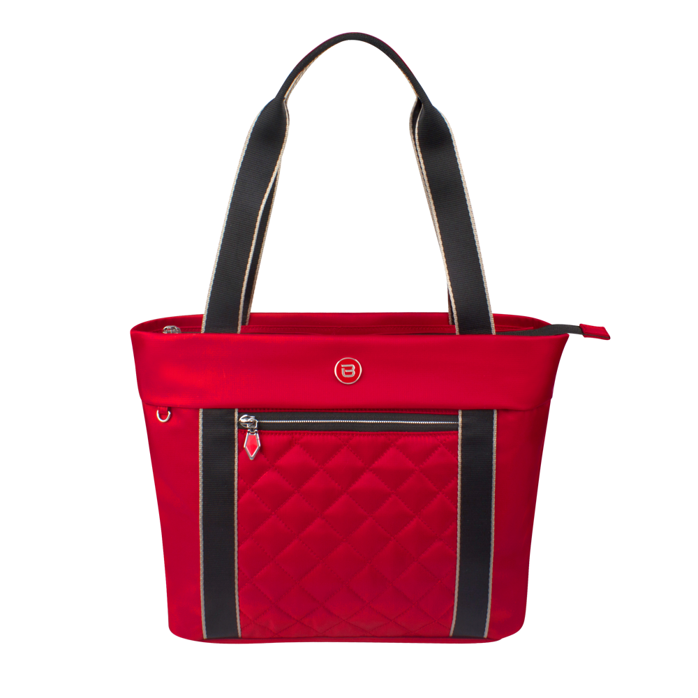 Tote Bag - Eddy Quilted Tote Front Biking Red