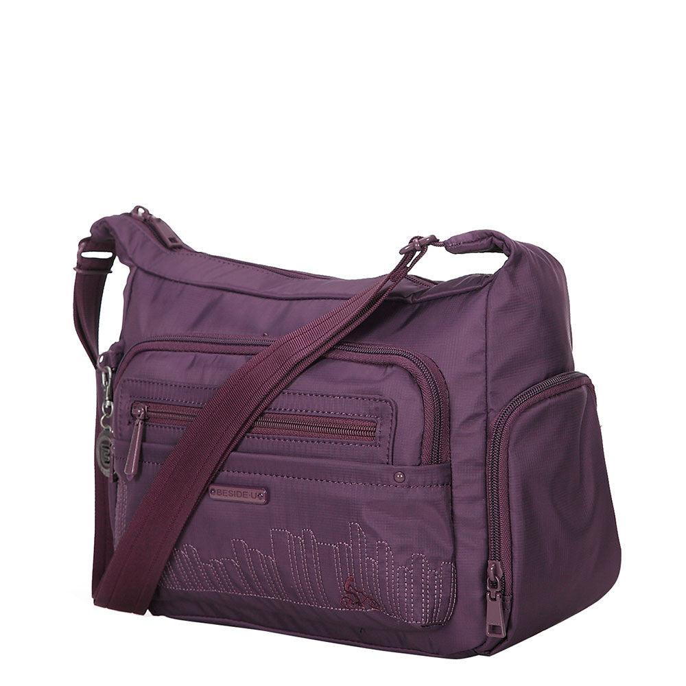 Rachelle Wineberry Purple Embroidery Multi-Pocket Crossbody Bag Angled [Wineberry Purple]