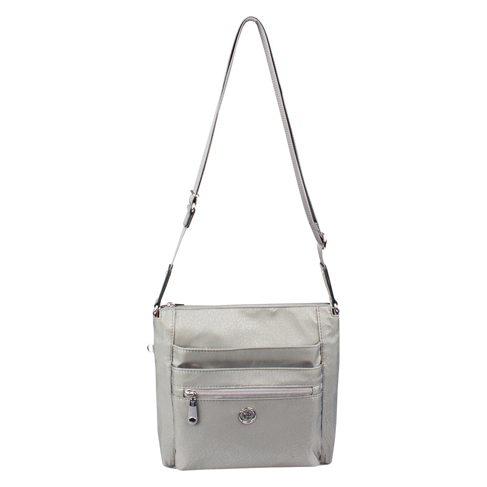 Crossbody Bag - Buena H Embossed Crossbody Bag Front [Gray Light Embossed Spot]