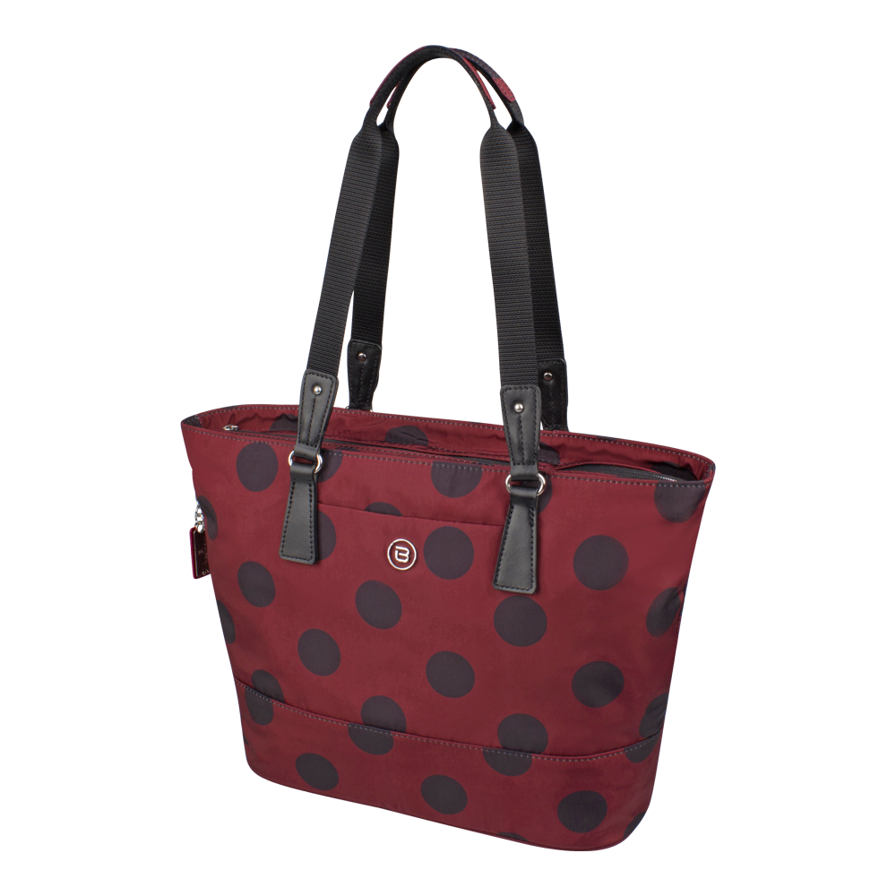 Tote Bag - Rossmore Printed Tote Angled [Wine Red Polka Dots]