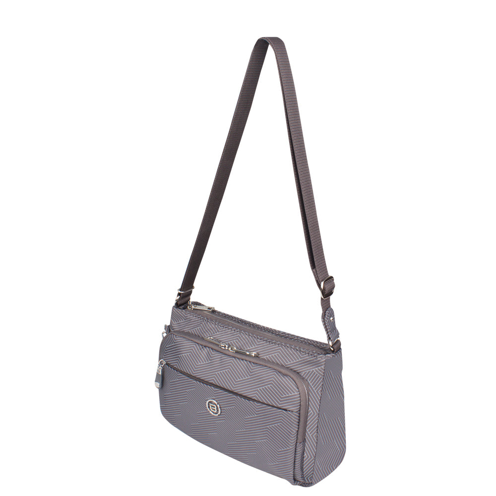 Crossbody Bag - Mocha Printed Crossbody Bag Angled [Footstep Grey Lines]