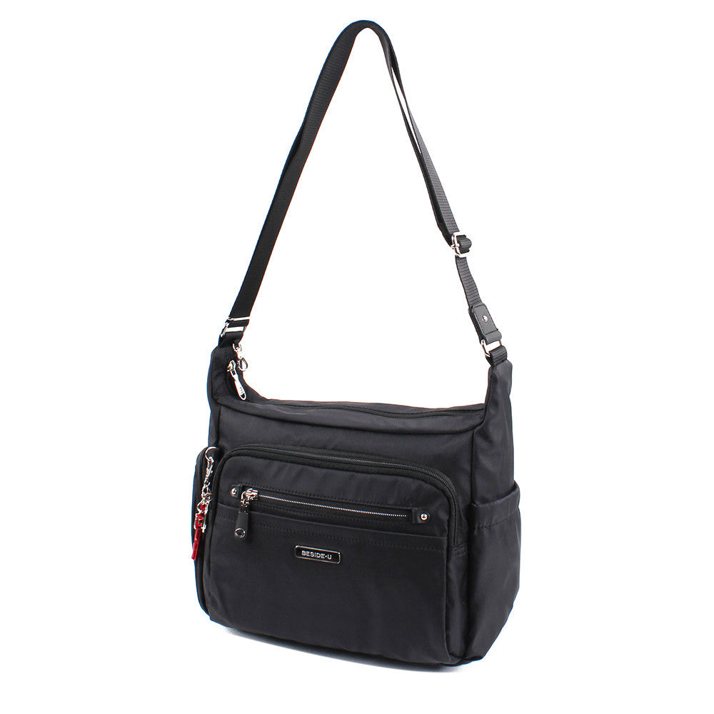 Crossbody Bag - Grenada Leather Trimmed Multi-Pocket Crossbody Bag With Red Whistle Angled [Black]