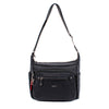 Crossbody Bag - Grenada Leather Trimmed Multi-Pocket Crossbody Bag With Red Whistle Front [Black]