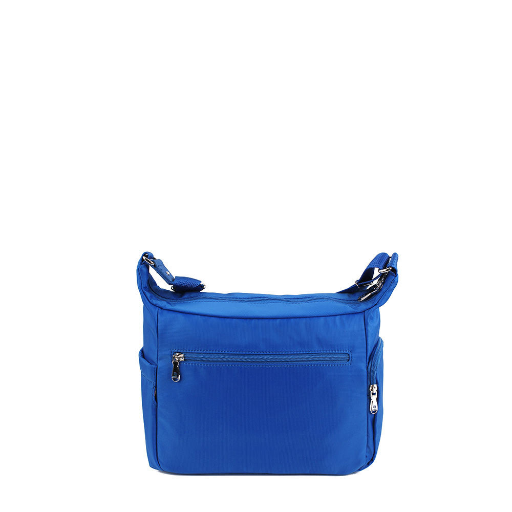 Crossbody Bag - Grenada Leather Trimmed Multi-Pocket Crossbody Bag With Red Whistle Back [Strong Blue]