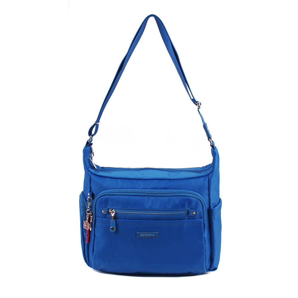 Crossbody Bag - Grenada Leather Trimmed Multi-Pocket Crossbody Bag With Red Whistle Front [Strong Blue]