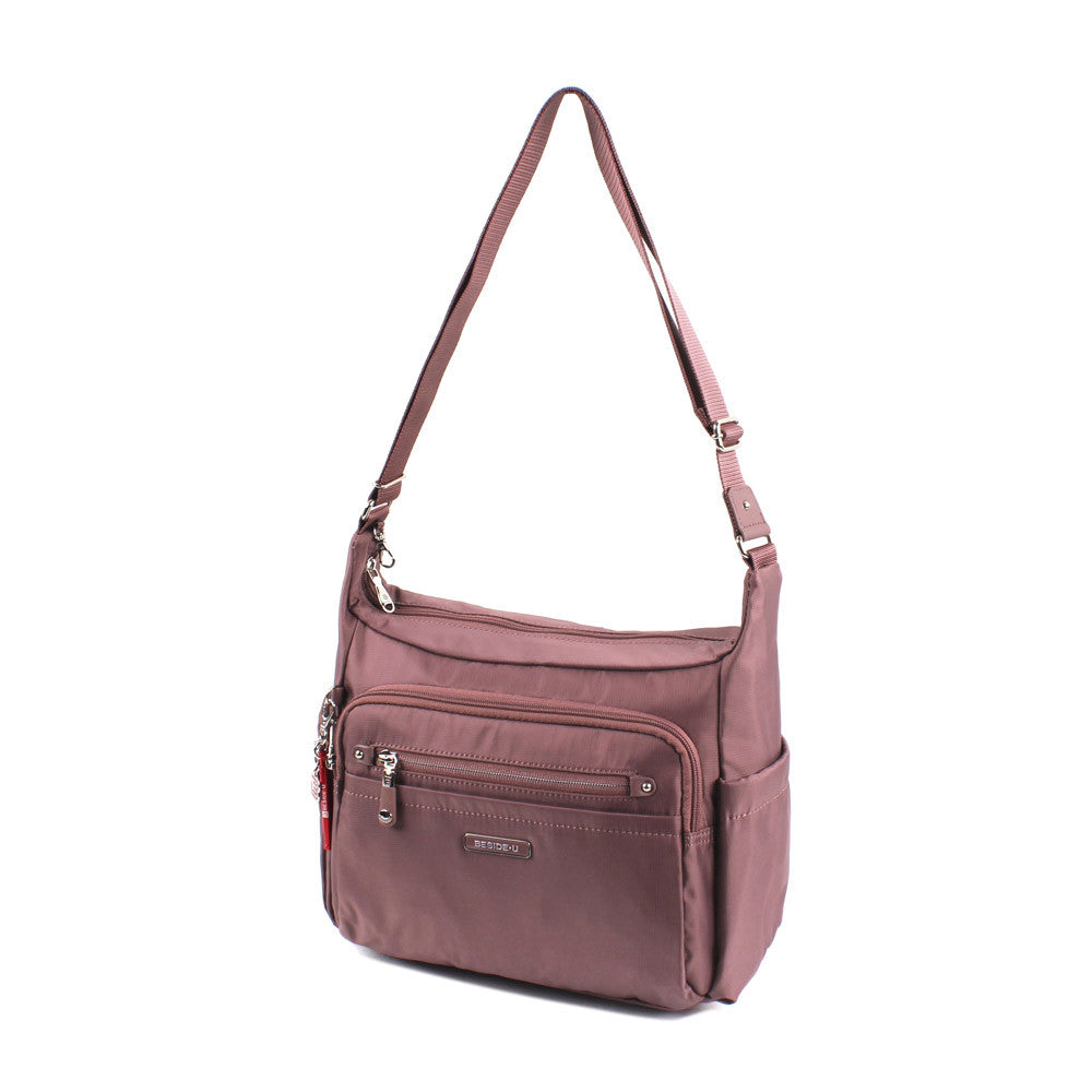 Crossbody Bag - Grenada Leather Trimmed Multi-Pocket Crossbody Bag With Red Whistle Angled [Rose Taupe]