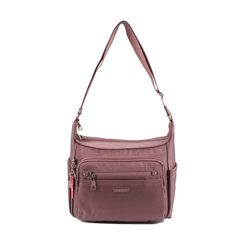 Crossbody Bag - Grenada Leather Trimmed Multi-Pocket Crossbody Bag With Red Whistle Front [Rose Taupe]