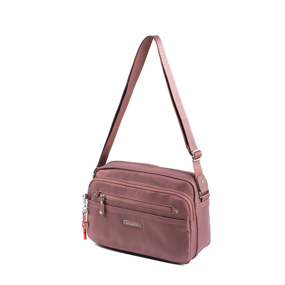 Crossbody Bag - Baker Leather Trimmed Medium Crossbody Bag With Red Whistle Angled [Rose Taupe]