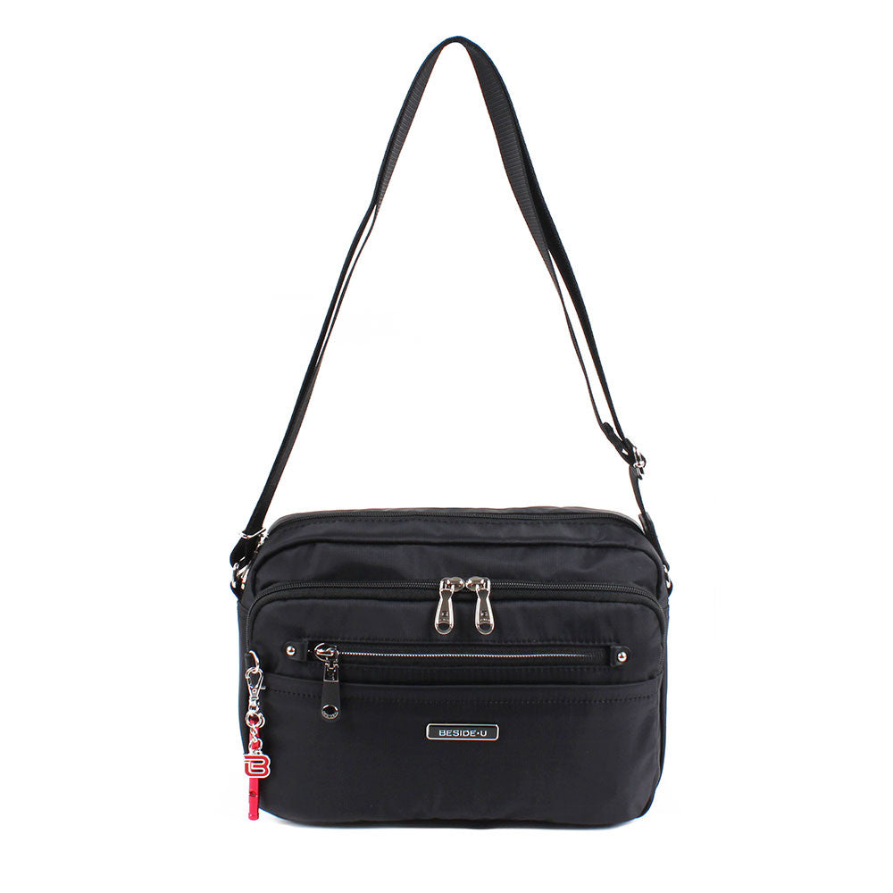 Crossbody Bag - Baker Leather Trimmed Medium Crossbody Bag With Red Whistle Front [Black]