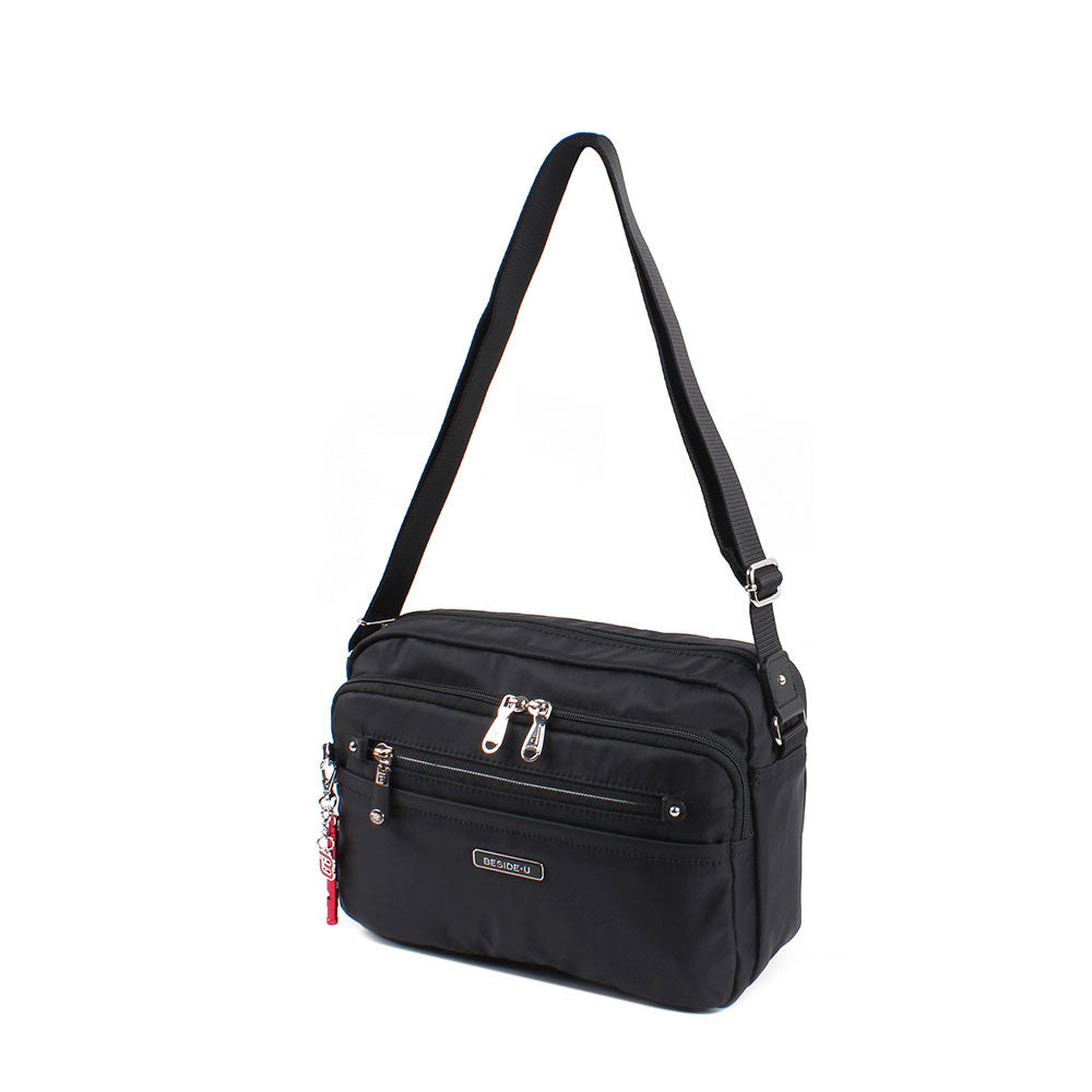 Crossbody Bag - Baker Leather Trimmed Medium Crossbody Bag With Red Whistle Angled [Black]