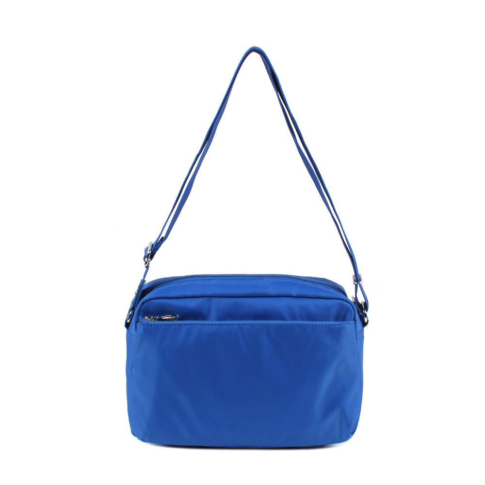 Crossbody Bag - Baker Leather Trimmed Medium Crossbody Bag With Red Whistle Back [Strong Blue]