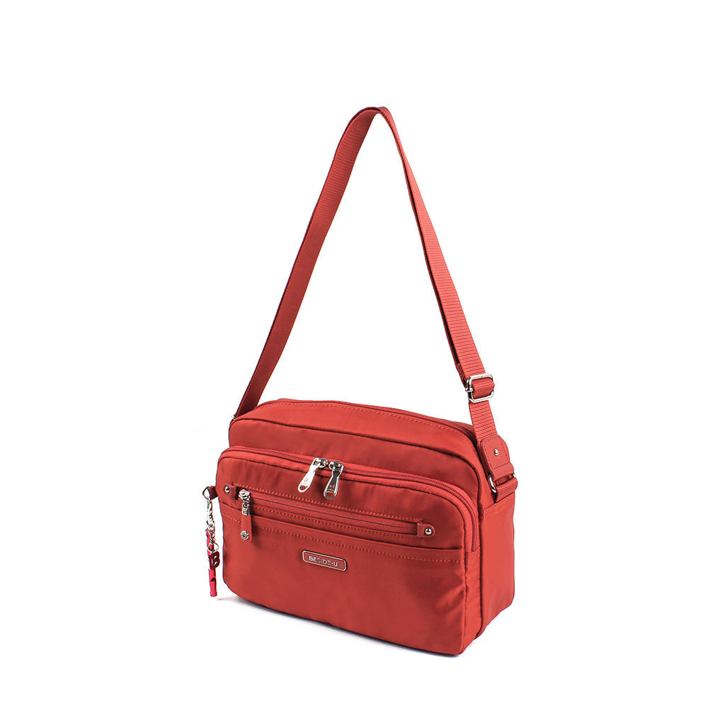 Crossbody Bag - Baker Leather Trimmed Medium Crossbody Bag With Red Whistle Angled [Tandoori Orange]