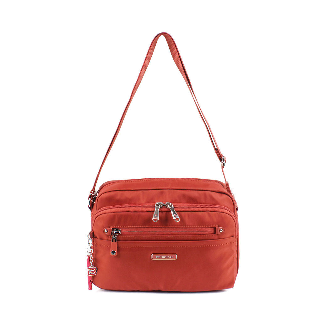 Crossbody Bag - Baker Leather Trimmed Medium Crossbody Bag With Red Whistle Front [Tandoori Orange]