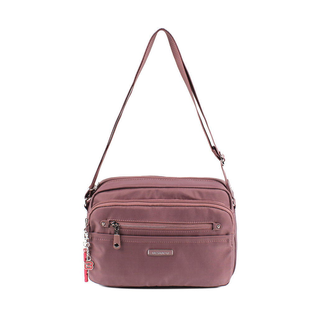 Crossbody Bag - Baker Leather Trimmed Medium Crossbody Bag With Red Whistle Front [Rose Taupe]