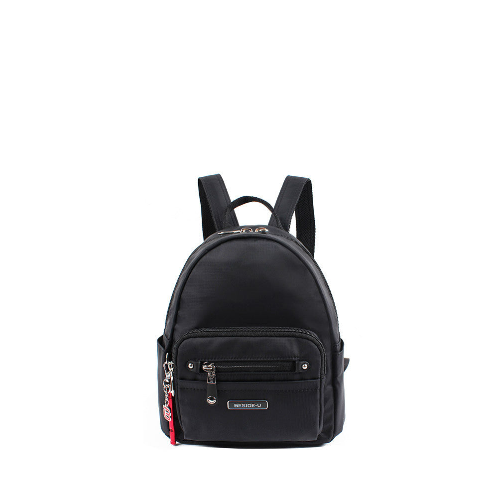 Backpack - Baxter Leather Trimmed Mini Backpack With Red Whistle Front [Black]